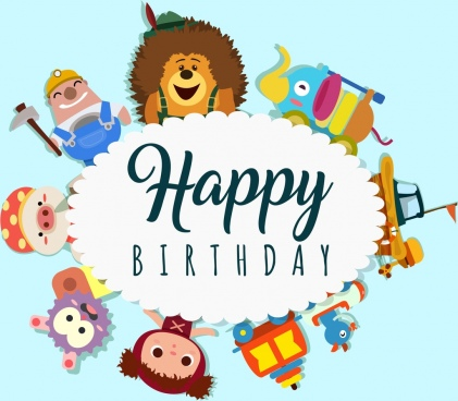 birthday wishes banner design ; birthday_banner_multicolored_toys_icons_decoration_circle_design_6830612