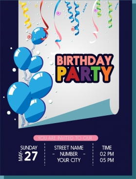 birthday wishes banner design ; birthday_party_banner_balloons_ribbons_curled_sheet_ornament_6828300