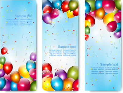 birthday wishes banner design ; colorful_balloons_banners_birthday_vector_584793