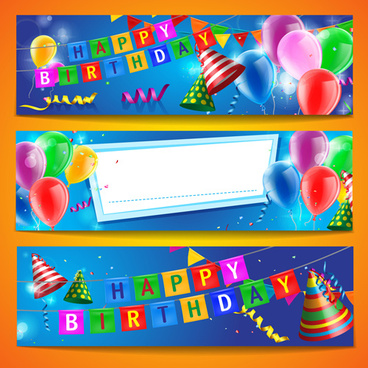 birthday wishes banner design ; confetti_with_colored_balloons_birthday_banner_vector_574541