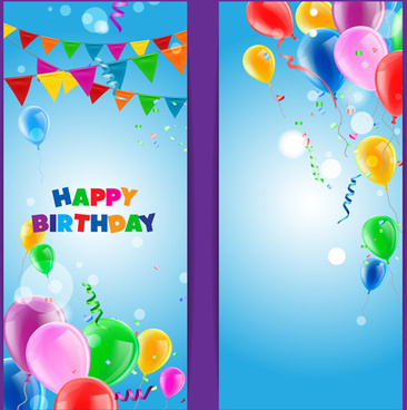 birthday wishes banner design ; confetti_with_colored_balloons_birthday_banner_vector_574542