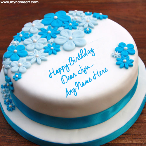 birthday wishes edit name and photo online ; flower-decorated-birthday-cake-edit-with-jiju-name-write