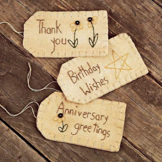 birthday wishes tags ; thank_you_birthday_wishes_and_anniversary_fabric_tags_set_of_3