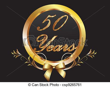birthdays and anniversaries clipart ; gold-50th-anniversary-birthday-vect-vector-clip-art_csp9265761