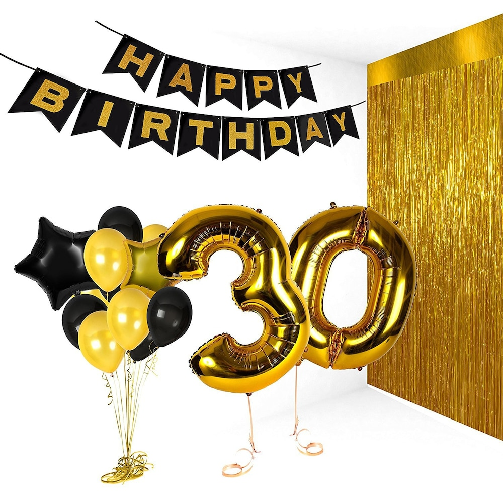black and gold birthday banner ; 164a76a7bb-3410