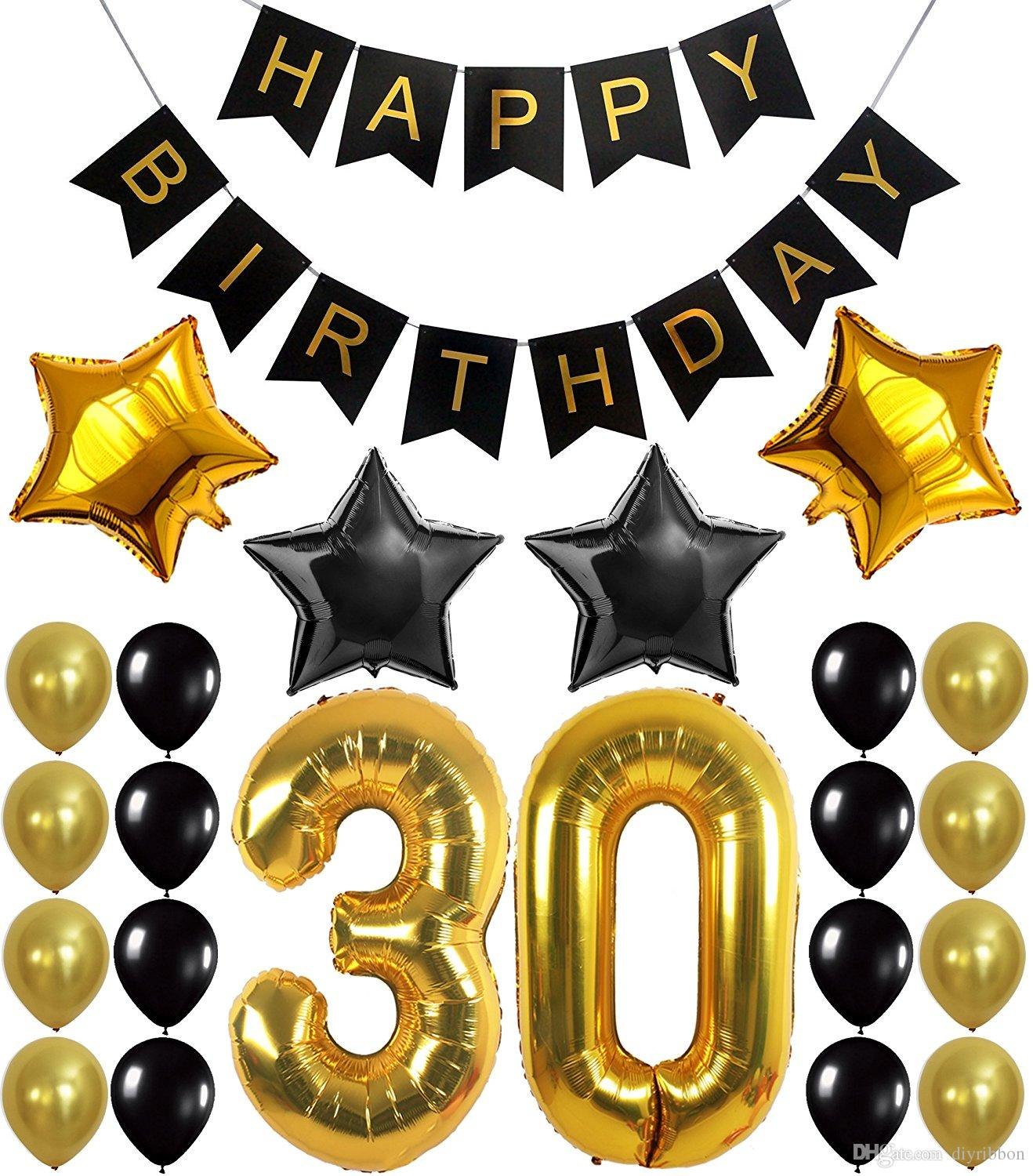black and gold birthday banner ; 30th-birthday-party-decorations-kit-happy