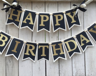 black and gold birthday banner ; 54a223b56f156e9a207649a8d470deae