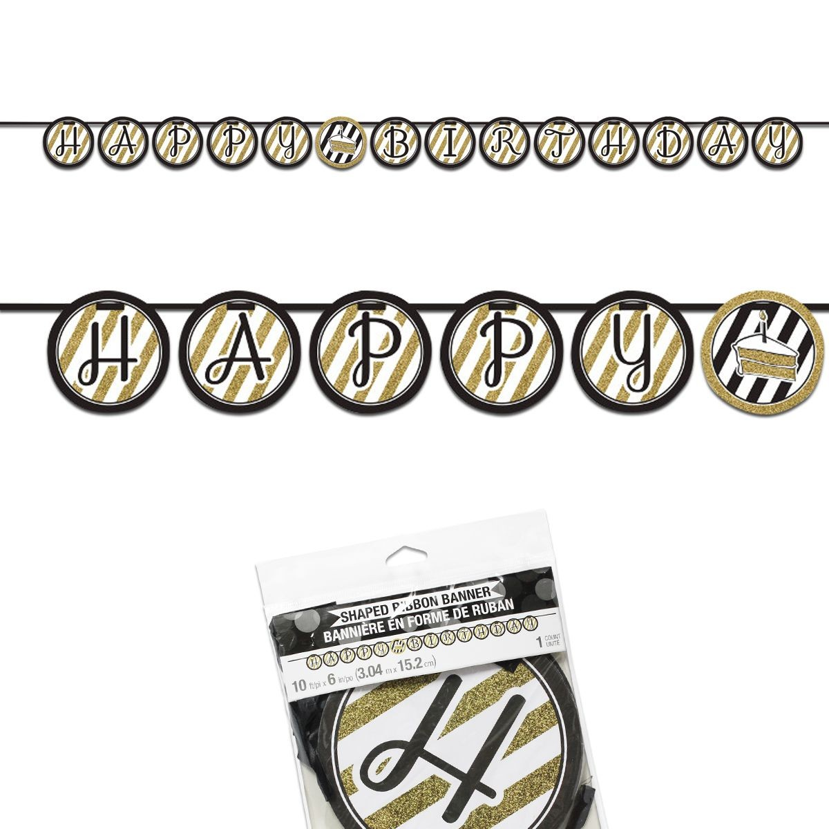 black and gold birthday banner ; DEC318121EA_Black_Gold-Ribbon-Banners-6inX10ft_2016