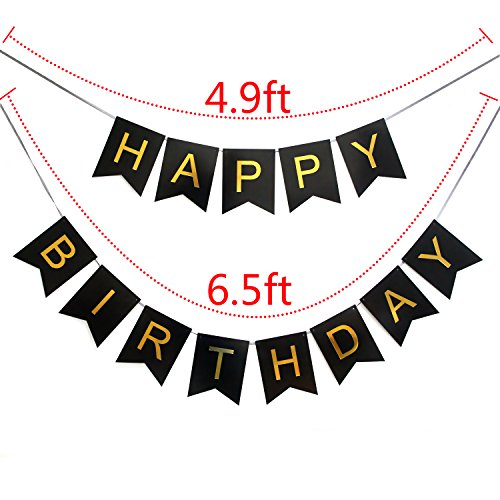 black and gold birthday banner ; INNORUTM-Happy-Birthday-Banner-Black-and-Gold-Birthday-Bunting-Stylish-Decorations-and-Party-Supplies-0-0
