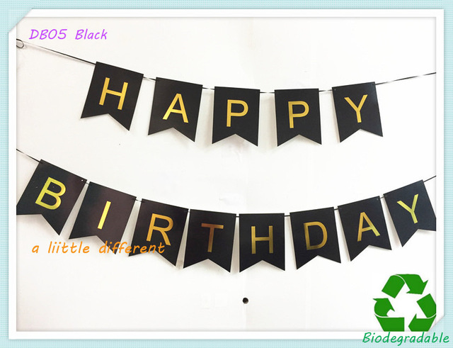 black and gold birthday banner ; Size-16x20cm-Glitter-Black-Backdrop-Gold-Foiled-Letter-Happy-Birthday-Banner-For-People-s-Personality-Birthday