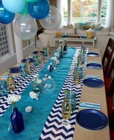 blue color themed birthday party ; 96b08bd9374f4154e6006344add0d163