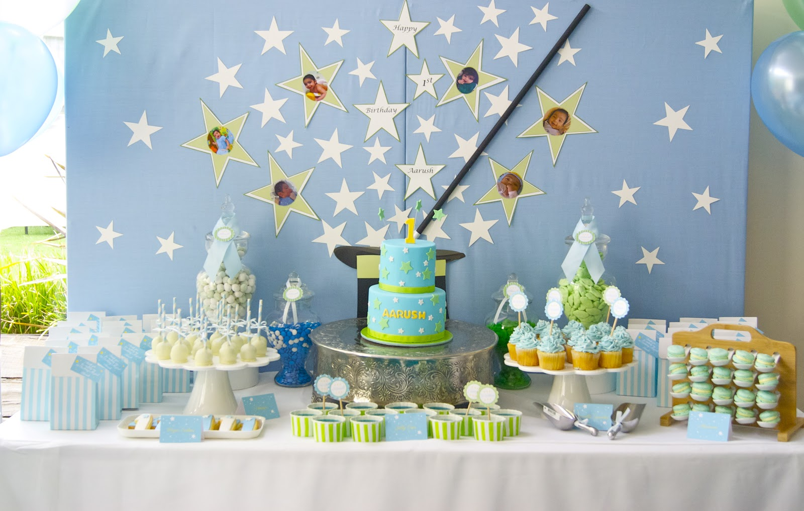 blue color themed birthday party ; DSC04982