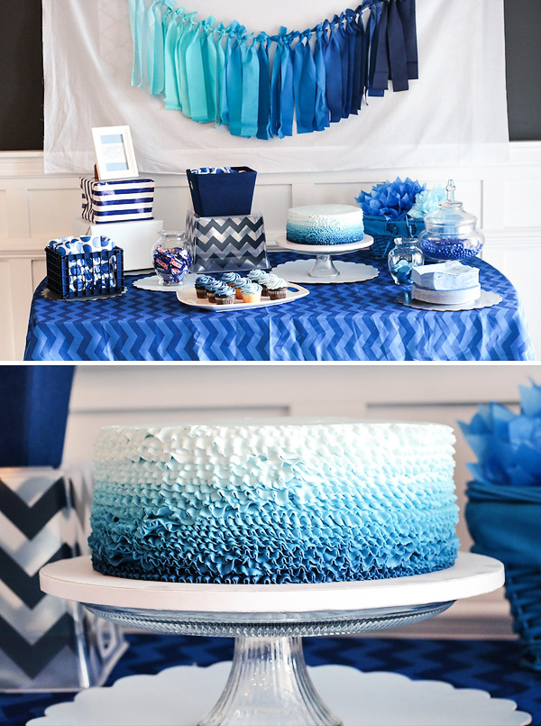 blue color themed birthday party ; blue-ombre-dessert-table-cake