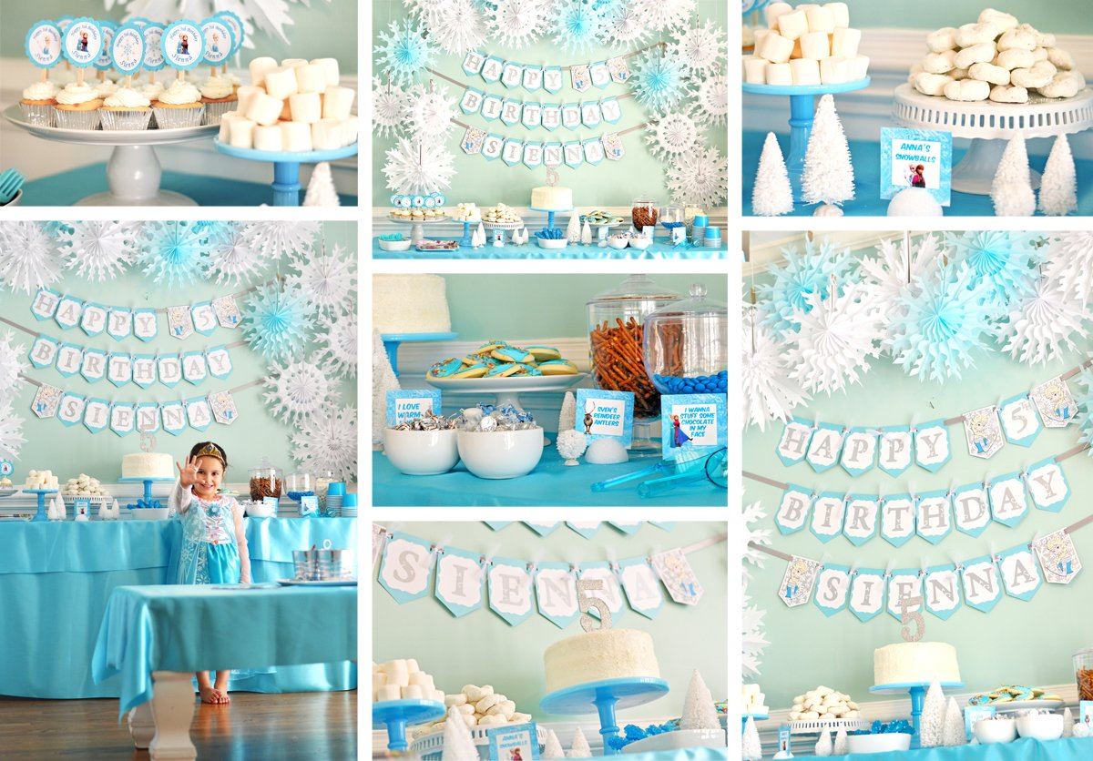 blue color themed birthday party ; frozenbdayparty