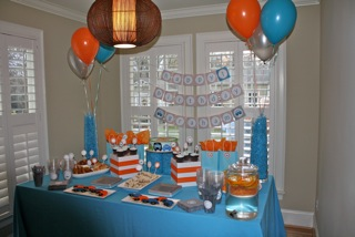 blue color themed birthday party ; table-2