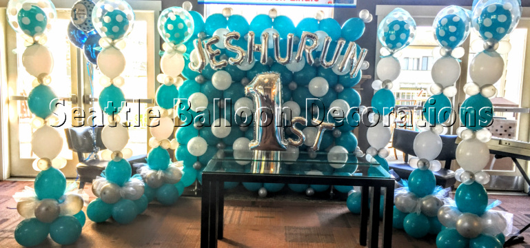 blue color themed birthday party ; tar-backdrop
