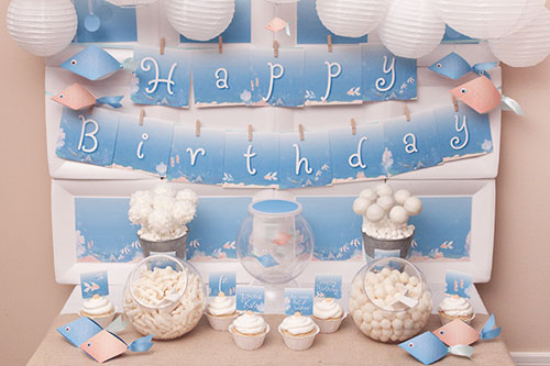 blue color themed birthday party ; under-the-sea-1
