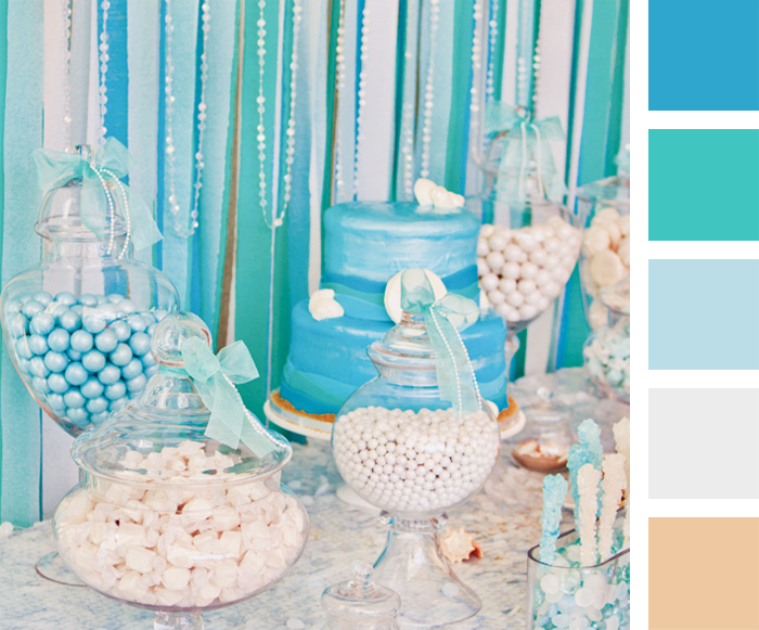 blue color themed birthday party ; under-the-sea-color-palette1