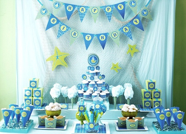 blue color themed birthday party ; water