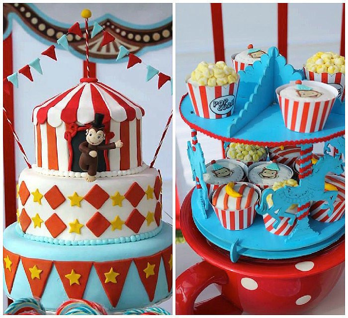 boy and girl birthday party themes ; Curious-George-Circus-Birthday-Party