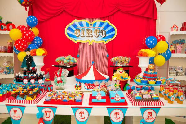 boy and girl birthday party themes ; circus