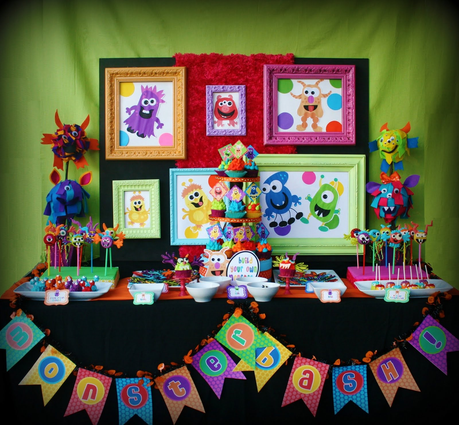 boy and girl birthday party themes ; colorful_monster_bash_party_girl_boy_birthday_cake_sweets_decorations