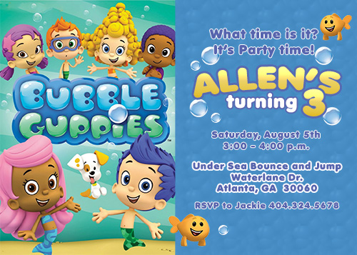 bubble guppies birthday invitation template ; 789e952765e7caf980549ab093810609
