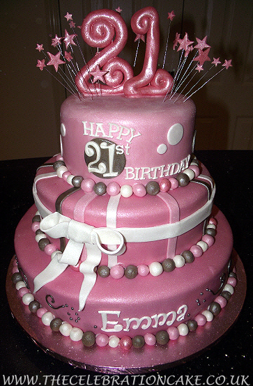 cake design ideas for 21st birthday ; 21-birthday-cake-round-pink-glowing-3-tier-cake-with-star-pattern-and-ribbon-ornament-specialised-celebration-cakes-18th-and-21st-birthday-cakes