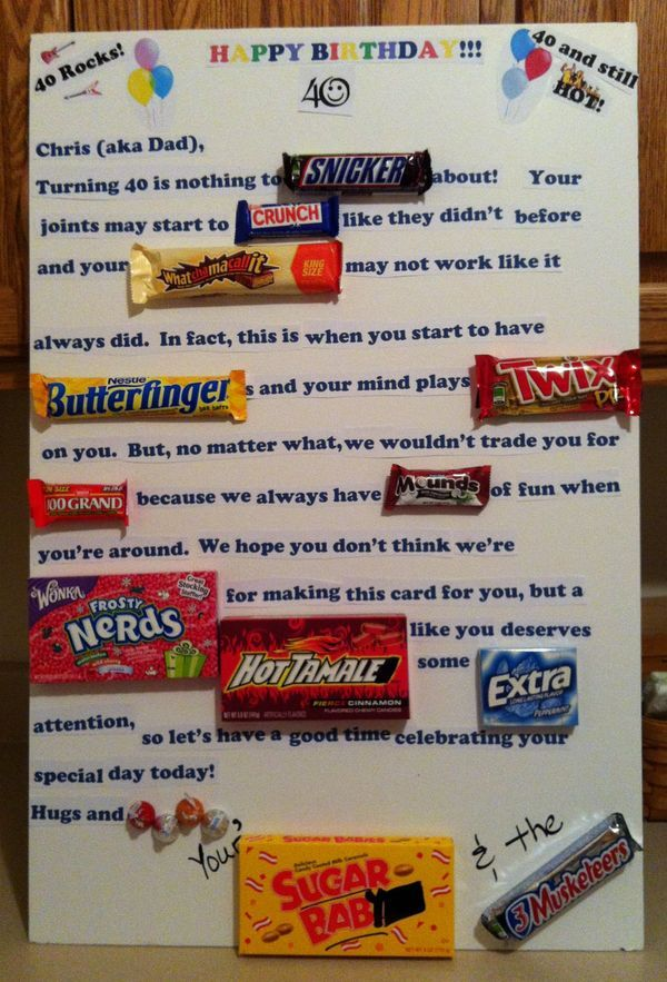 candy bar poster for 40th birthday ; 0ece105dcc403e320500902af99c3f2c