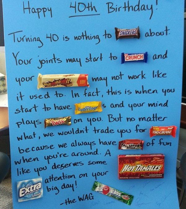candy bar poster for 40th birthday ; 3-candy-bar-saying-ideas