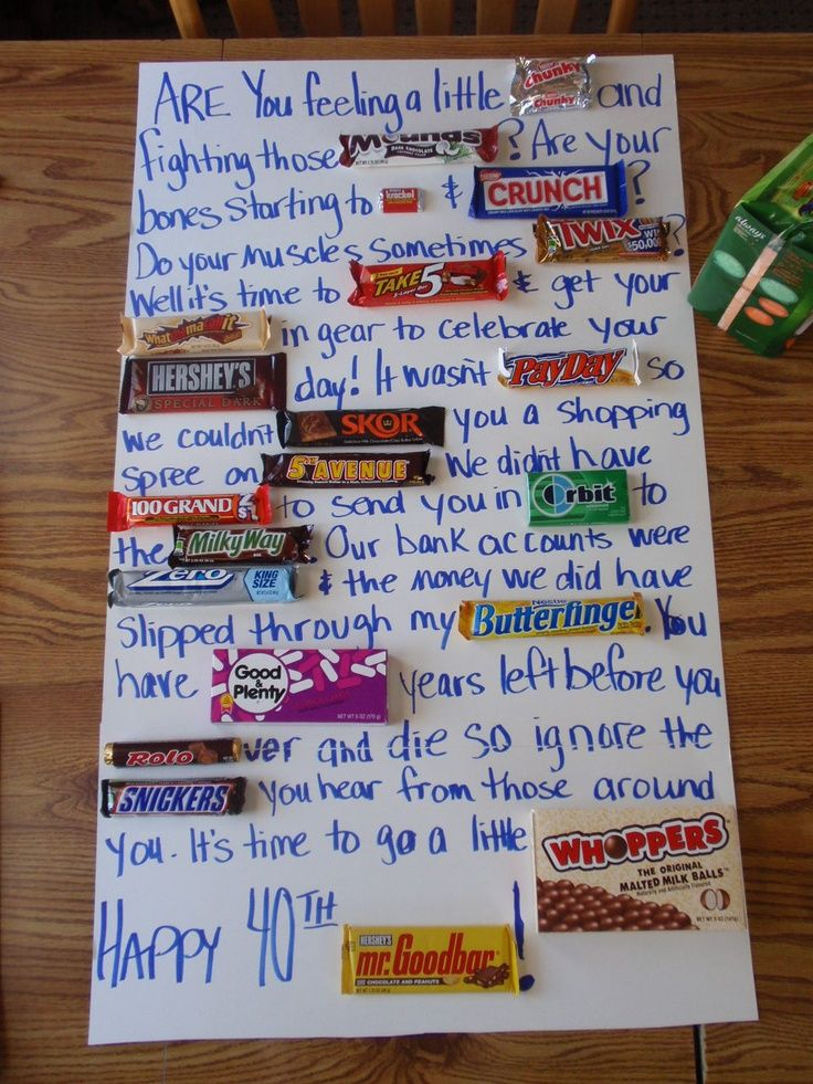 candy bar poster for 40th birthday ; 32239ccf007f7bd76f6a9eecd7ccccde