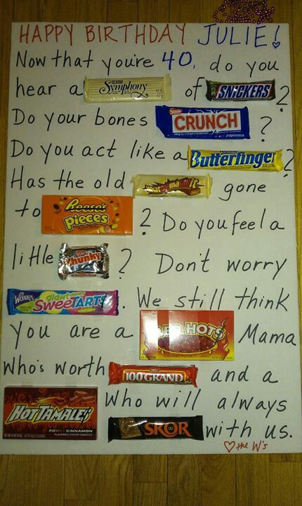 candy bar poster for 40th birthday ; 468e6a24998441a458eb5a3889c8fd5b