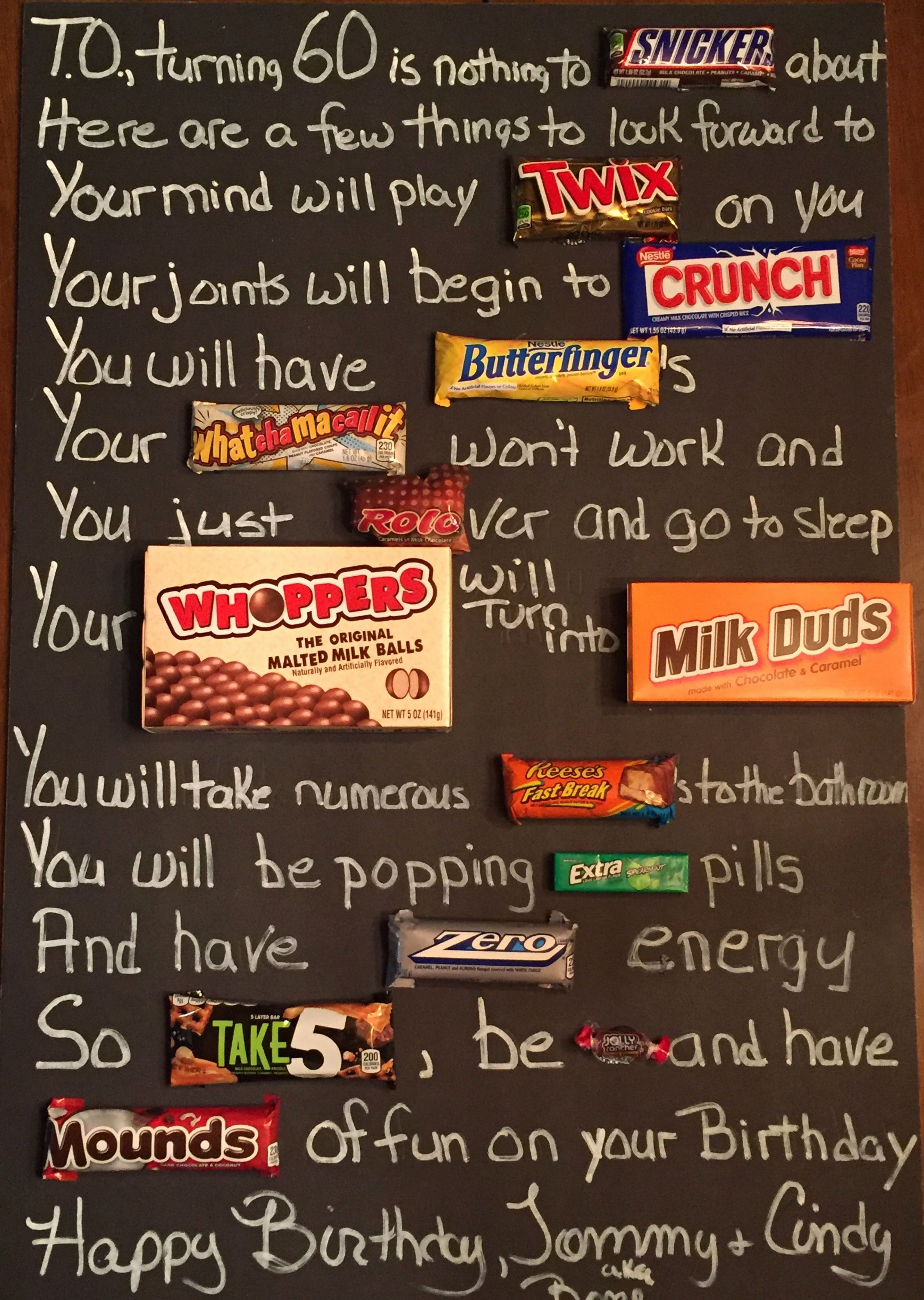 candy bar poster for 40th birthday ; what-to-write-in-a-40th-birthday-card-new-old-age-over-the-hill-60th-birthday-candy-card-poster-using-candy-of-what-to-write-in-a-40th-birthday-card