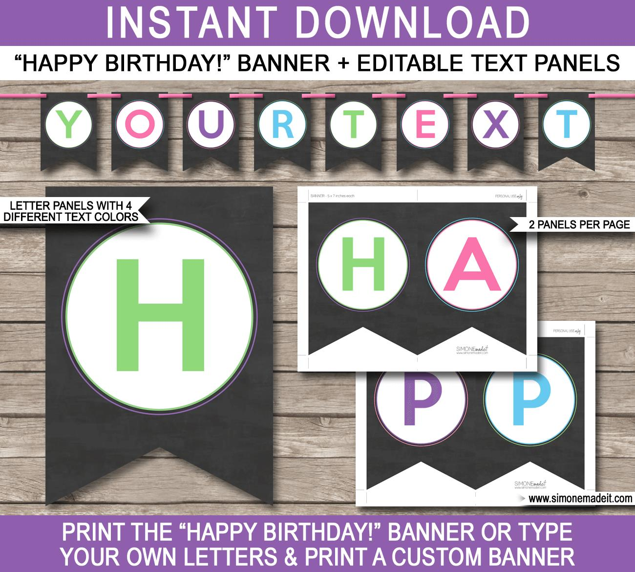 chalkboard birthday banner ; Girl-Chalkboard-Banner-Template-Bunting-editable-text