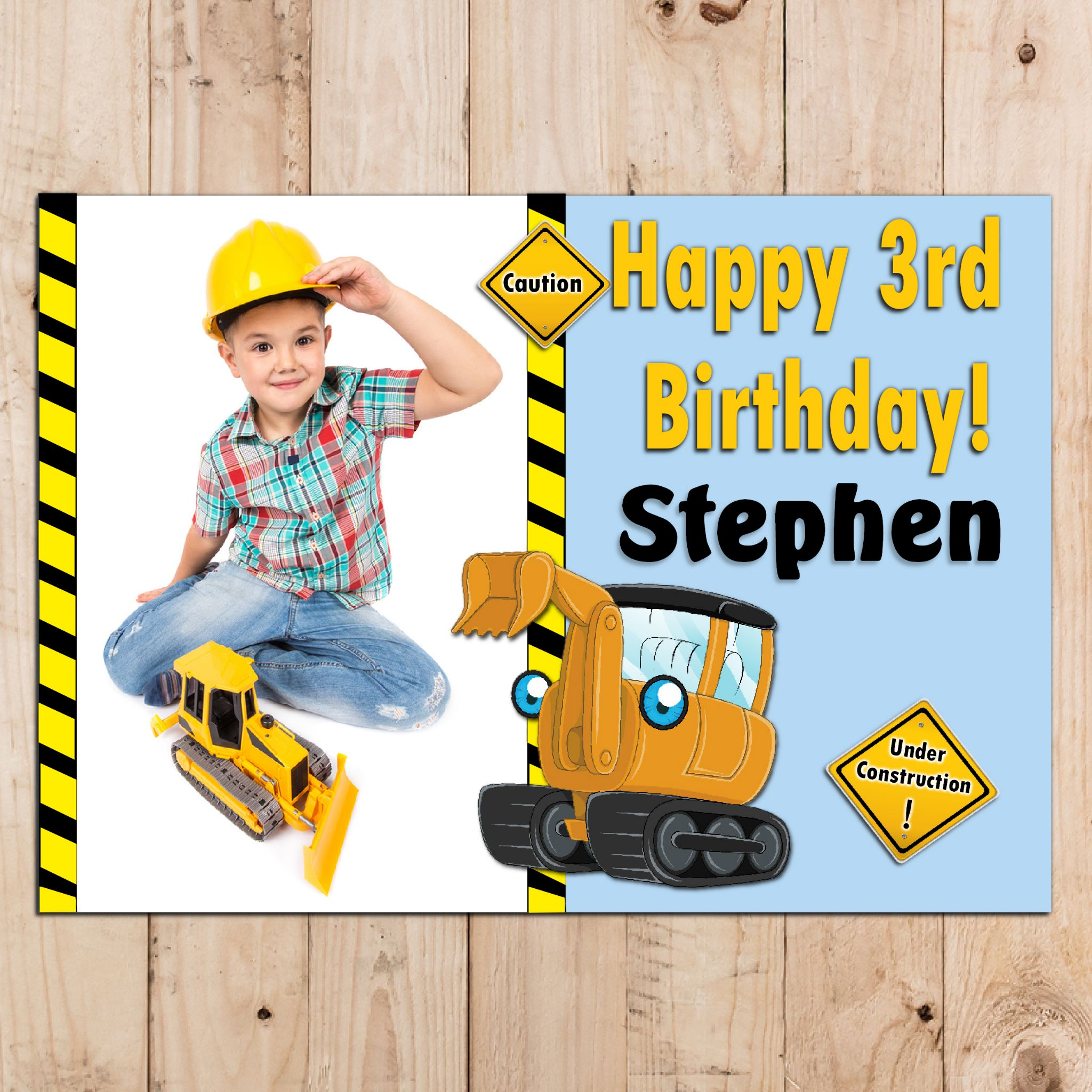 children's personalised birthday banners ; personalised-kids-digger-happy-birthday-party-photo-poster-banner-n51-size-a3-29