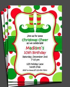 christmas birthday party invitation templates ; 9c341b44aff7844489eeb89f1690c1c1--christmas-birthday-party-christmas-elf