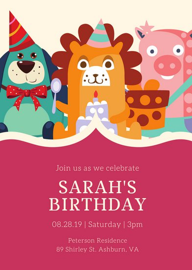 christmas birthday party invitation templates ; canva-pink-and-green-animal-party-hat-kids-party-invitation-MAB_iVaojKw