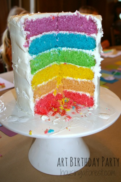 color run themed birthday party ; Art-Birthday-Party-Cake