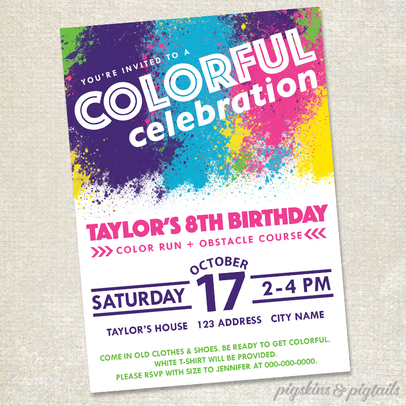 color run themed birthday party ; invite-sample-1