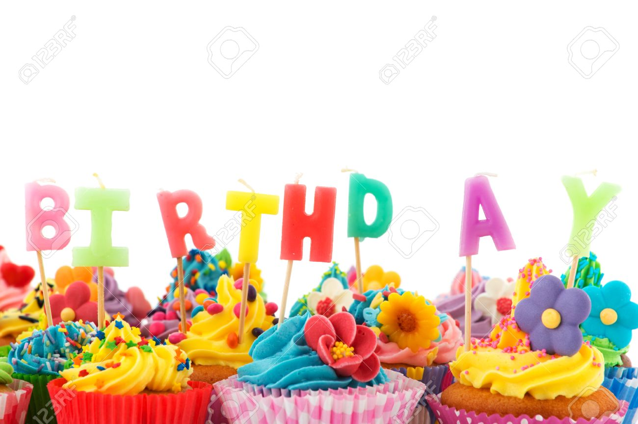 colorful birthday images ; 15769068-colorful-birthday-cupcakes-with-candles-isolated-over-white-background