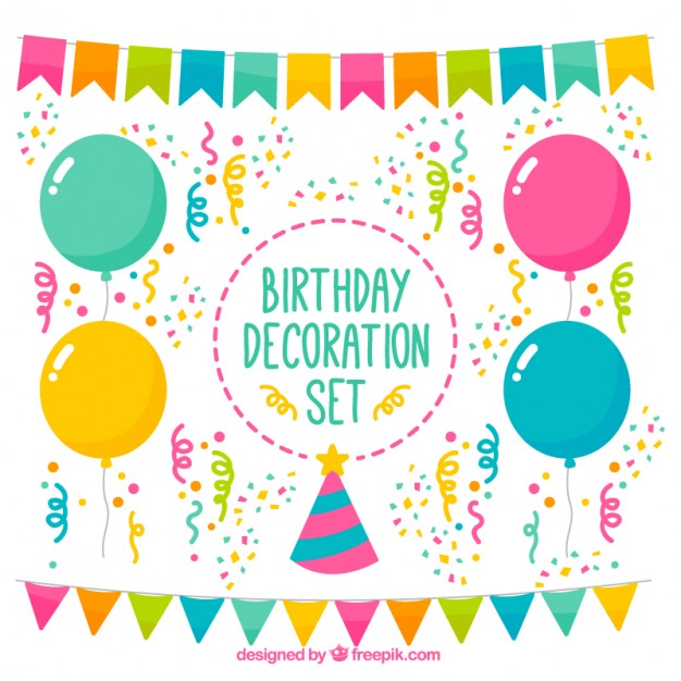 colorful birthday images ; colorful-birthday-decoration-set_23-2147551322