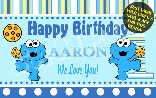 cookie monster birthday banner ; baby_monster_sesame_street_personalized_custom_birthday_banner_f74a06a9