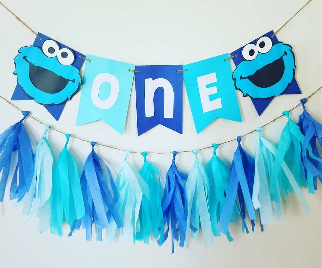 cookie monster birthday banner ; il_fullxfull