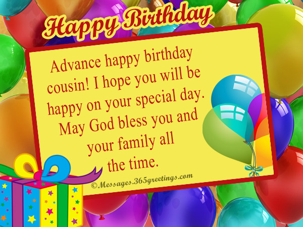 cousin birthday card messages ; birthday-wishes-for-cousin-in-advance