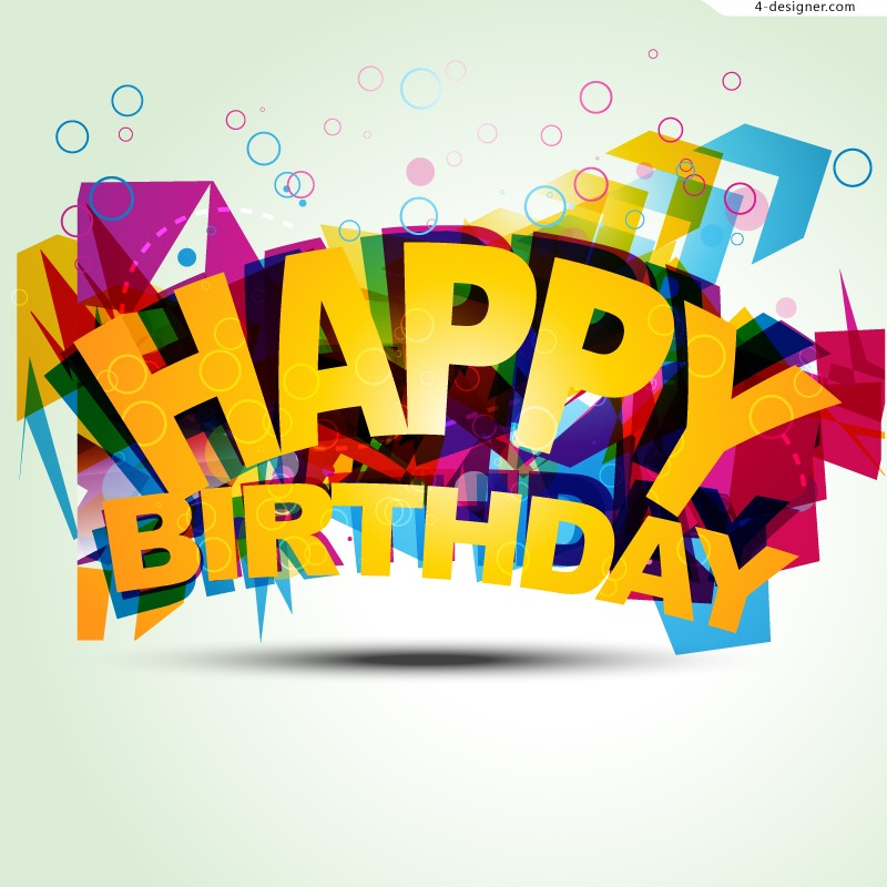 creative birthday posters ; Creative-fashion-3D-birthday-background-vector-material-62642