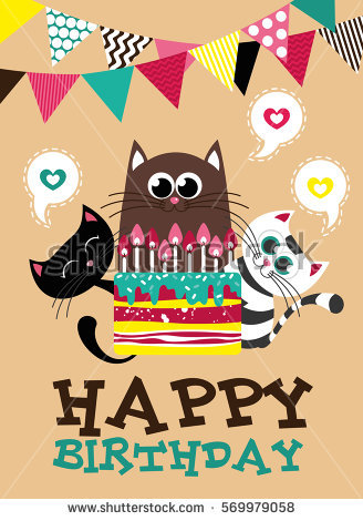 creative birthday posters ; stock-vector-cute-creative-cards-templates-with-happy-birthday-theme-design-hand-drawn-card-for-birthday-569979058