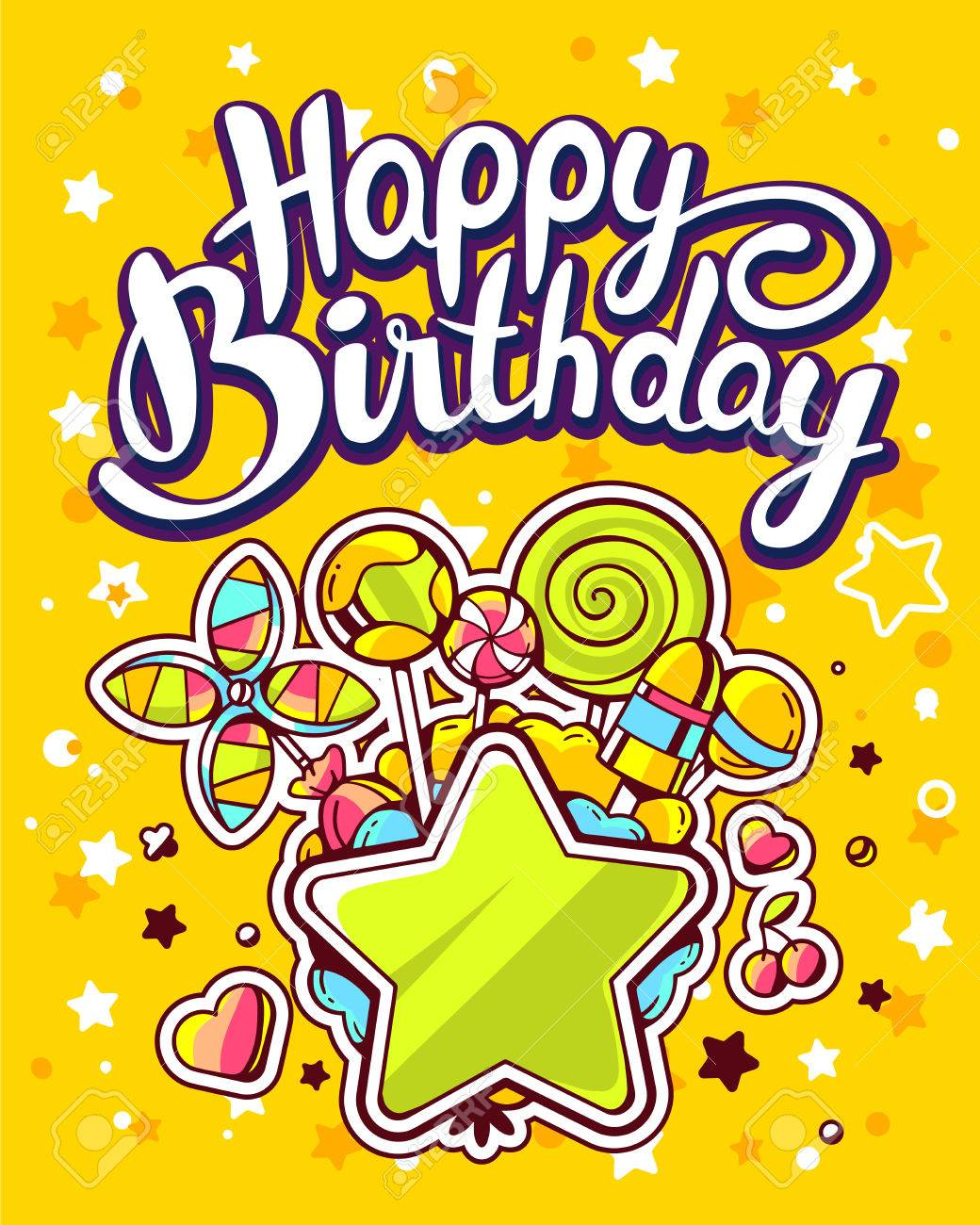 creative happy birthday posters ; 61959894-vector-creative-colorful-illustration-of-green-star-pile-of-sweets-and-text-happy-birthday-on-yellow