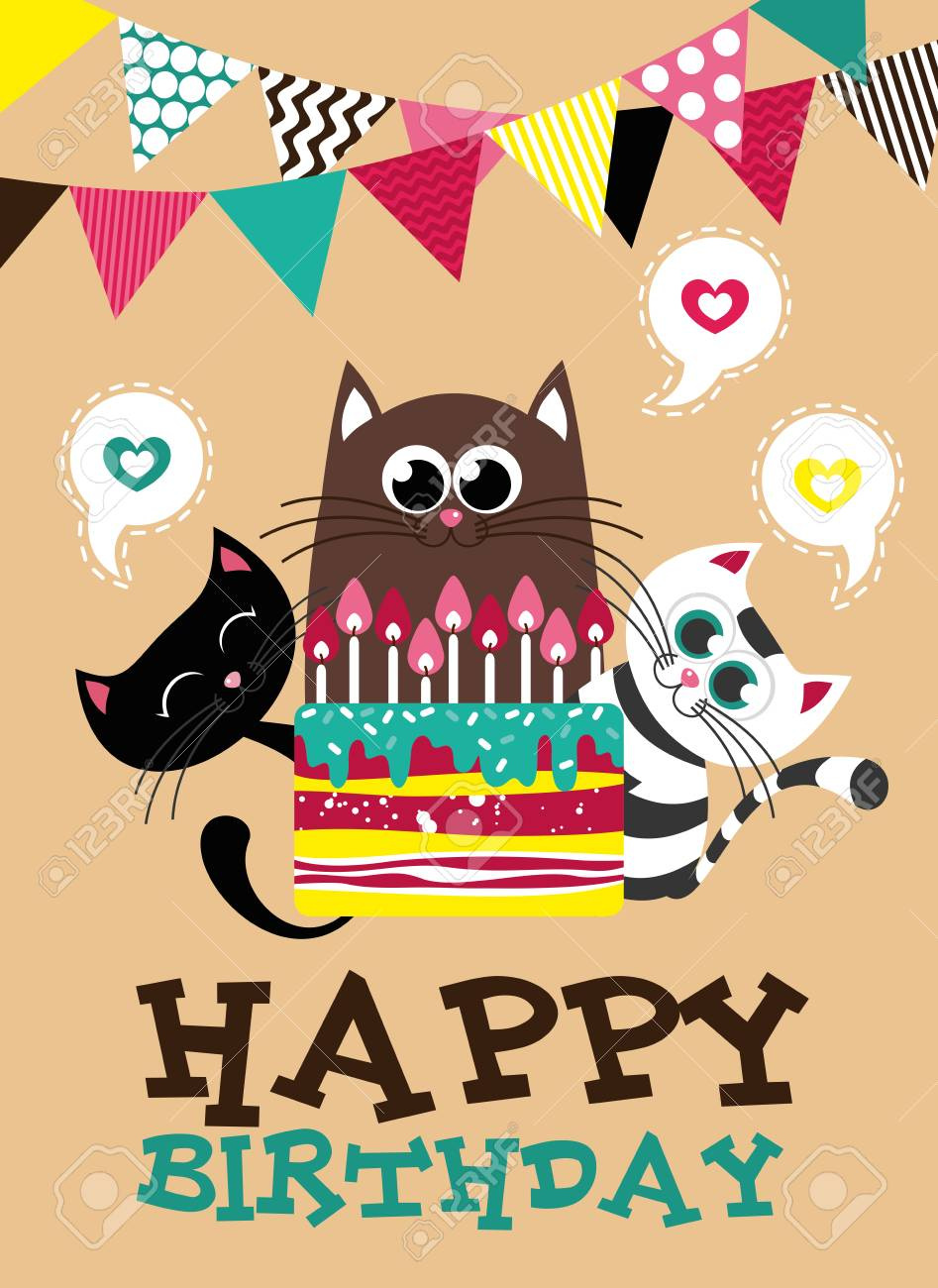 creative happy birthday posters ; 81800032-cute-creative-cards-templates-with-happy-birthday-theme-design-hand-drawn-card-for-birthday-annivers
