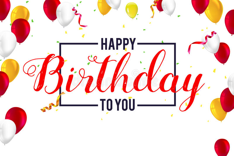 creative happy birthday posters ; stylish-greetings-happy-birthday-creative-card-inflatable-balloons-confetti-streamers-typography-vintage-poster-vector-d-89556673