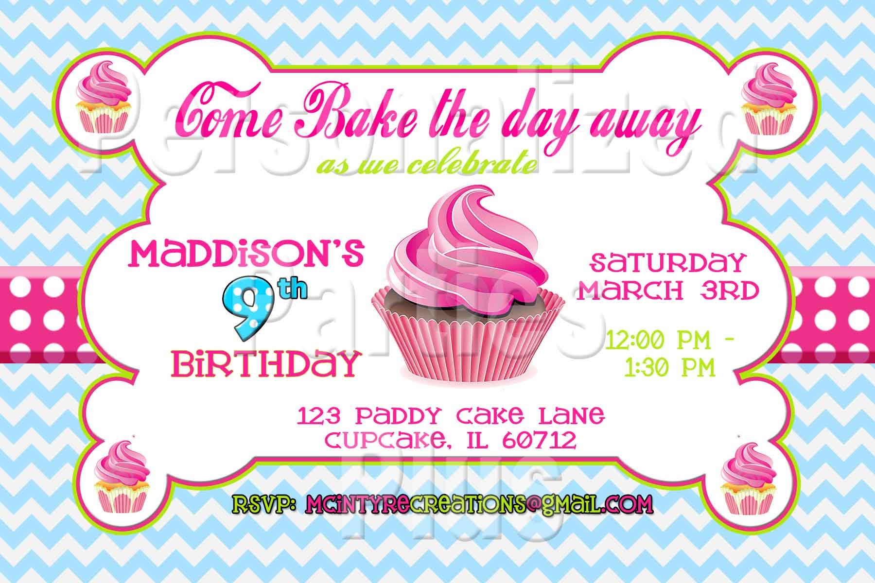 cupcake photo birthday invitations ; cupcake-aqua-chevron-invite